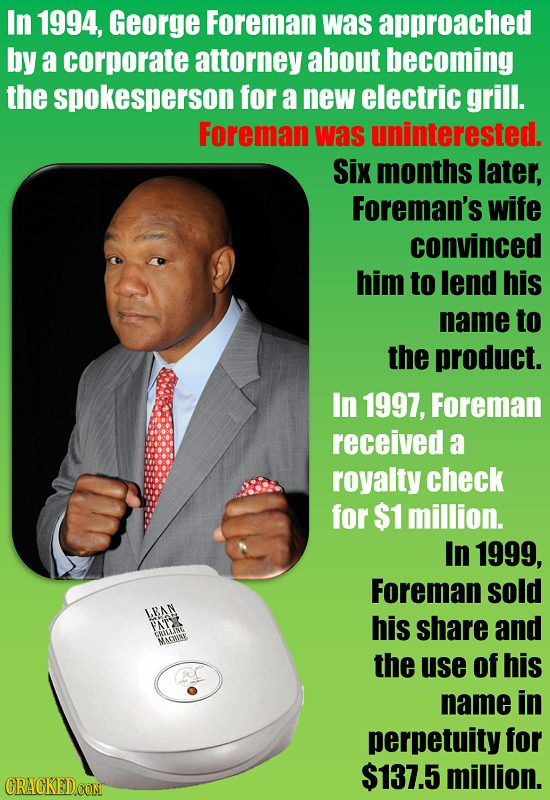 In 1994, George Foreman was approached by a corporate attorney about becoming the spokesperson for a new electric grill. Foreman was uninterested. Six