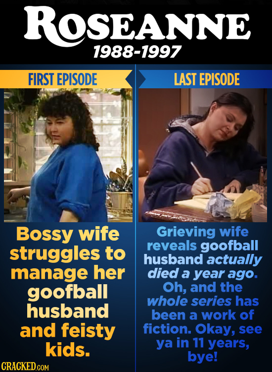ROSEANNE SEANNE 1988-1997 FIRST EPISODE LAST EPISODE Bossy wife Grieving wife struggles reveals goofball to husband actually manage her died a year ag