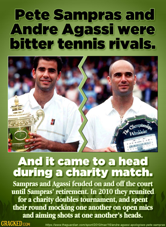Pete Sampras and Andre Agassi were bitter tennis rivals. Chenpibnsis The Wmslea: And it came to a head during a charity match. Sampras and Agassi feud