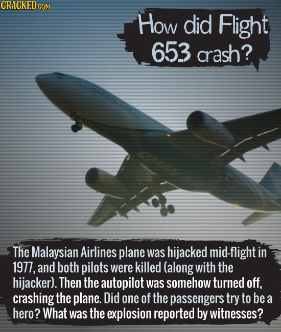 How did Flight 653 crash? The Malaysian Airlines plane was hijacked mid-flight in 1977, and both pilots were killed (along with the hijacker