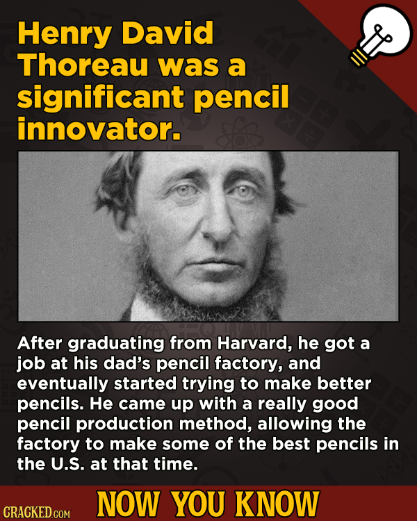 13 Surprising Facts About Movies (And A Ton Of Other Things) - Henry David Thoreau was a significant pencil innovator. After graduating from
