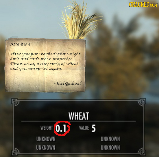 Attention Have you just reached your weight limit and can't move properly? Thro1 W away a tiny sprig of wheat and you can sprint again. -Jarlgjaluind