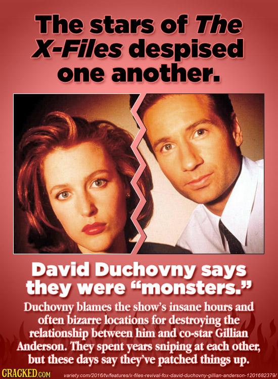 The stars of The X-Files despised one another. David Duchovny says they were monsters. Duchovny blames the show's insane hours and often bizarre lo