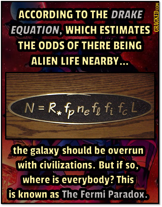 ACCORDING TO THE DRAKE EQUATION, WHICH ESTIMATES CRAUN THE ODDS OF THERE BEING ALIEN LIFE NEARBY... N=Rpnefe fi Fc L ne L the galaxy should be overrun