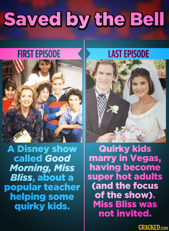 Saved by the Bell FIRST EPISODE LAST EPISODE A Disney show Quirky kids called Good marry in Vegas, Morning, Miss having become Bliss, about a super ho