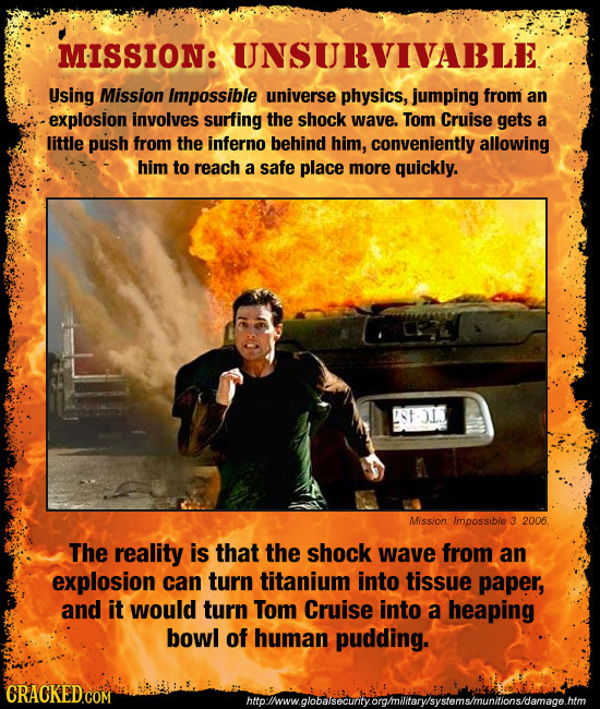 MISSION: UNSURVIVABLE Using Mission Impossible universe physics, jumping from an -explosion involves surfing the shock wave. Tom Cruise gets a little