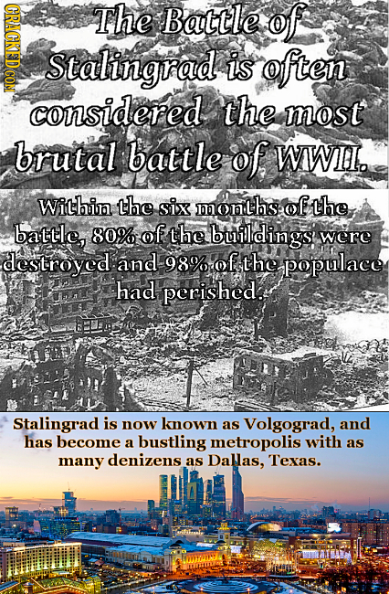 CRACKEDCON The Battle of Stalingrad is often considered the most brutal battle of WWII. Within the six months: of the battle, 80% of the builldings we