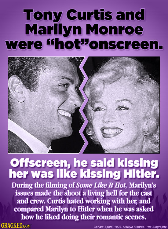 Tony Curtis and Marilyn Monroe were hot'onscreen. Offscreen, he said kissing her was like kissing Hitler. During the filming of Some Like It Hot, Ma