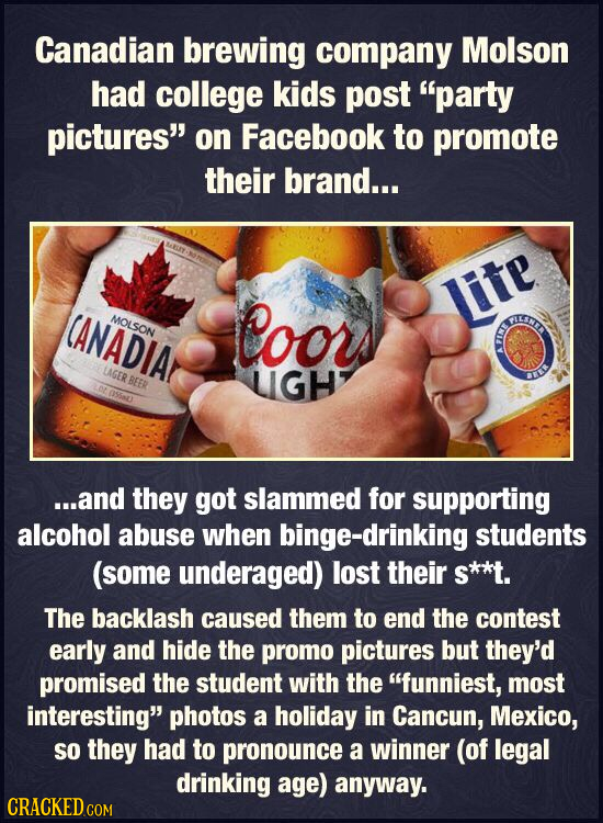 Canadian brewing company Molson had college kids post party pictures on Facebook to promote their brand... CANADIA MOLSON Coors Jite LAGER BEER LIGH
