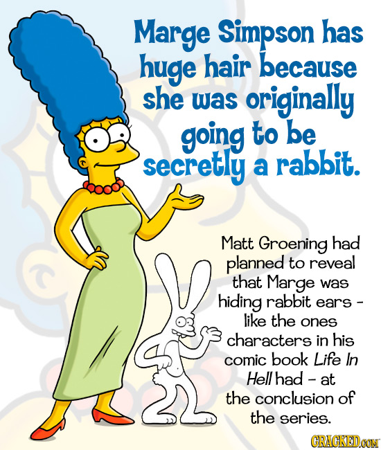 Marge Simpson has huge hair because she was originally going to be secretly rabbit. a Matt Groening had planned to reveal that Marge was hiding rabbit