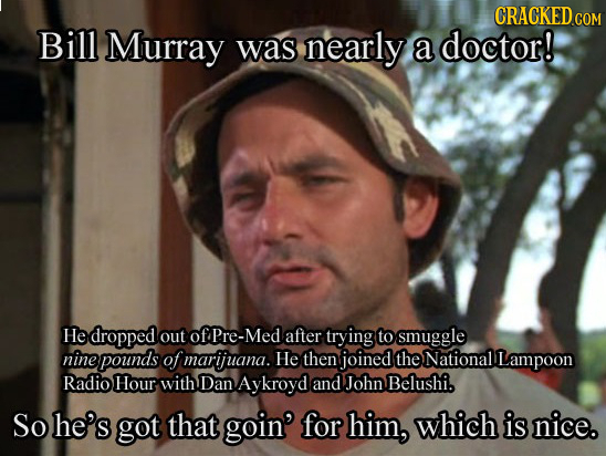 CRACKED COM Bill Murray was nearly a doctor! He dropped out of Pre-Med after trying to smuggle nine pounds of marijuana. He then joined the National L
