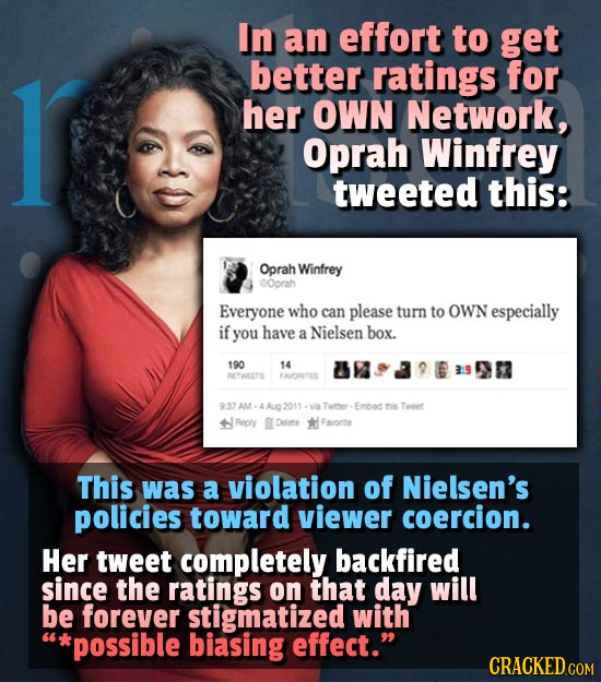 In an effort to get 1 better ratings for her OWN Network, Oprah Winfrey tweeted this: Oprah Winfrey COprah Everyone who can please turn to OWN especia