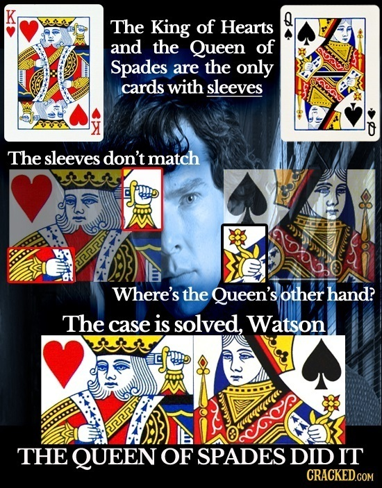 K The King of Hearts and the Queen of 200 Spades are the only cards with sleeves OVAG Y 0 The sleeves don't match Where's the Queen's other hand? The