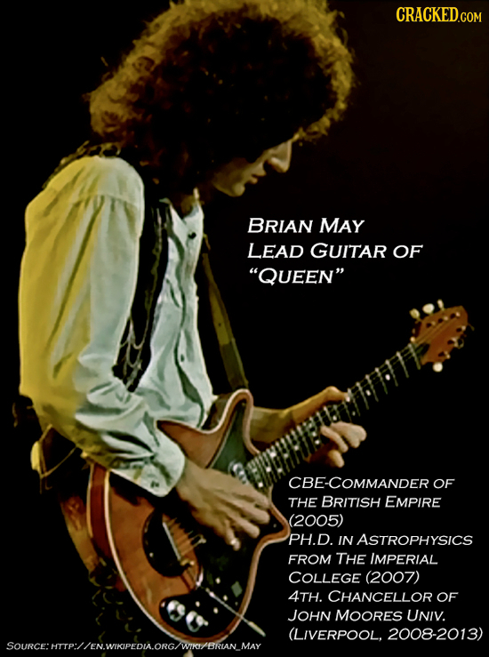 CRACKED.COM BRIAN MAY LEAD GUITAR OF QUEEN CBE-COMMANDER OF THE BRITISH EMPIRE (2005) PH.D. IN ASTROPHYSICS FROM THE IMPERIAL COLLEGE (2007) 4TH. CH