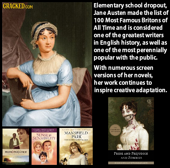 CRACKEDCON Elementary school dropout, Jane Austen made the list of 100 Most Famous Britons of All Time and is ered one of the greatest writers in Engl
