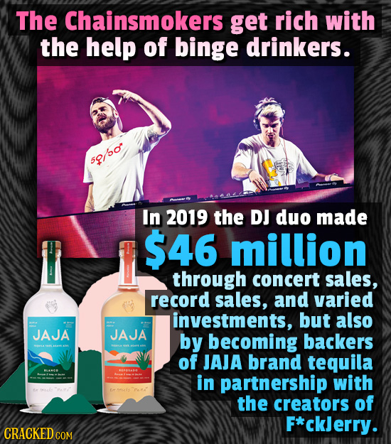 The Chainsmokers get rich with the help of binge drinkers. 52/50 In 2019 the DJ duo made $46 million through concert sales, record sales, and varied