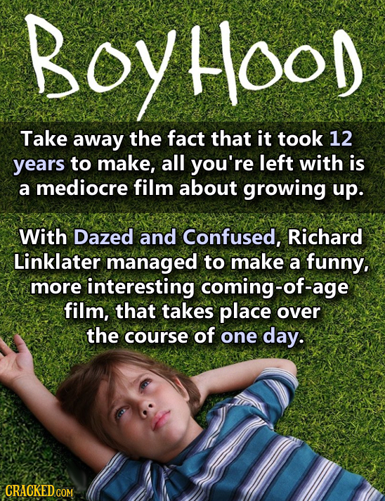 Hood Take away the fact that it took 12 years to make, all you're left with is a mediocre film about growing up. With Dazed and Confused, Richard Link