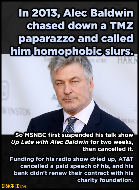 In 2013, Alec Baldwin chased down a TMZ paparazzo and called him homophobic slurs. HARR INSTON So MSNBC first suspended his talk show Up Late with Ale