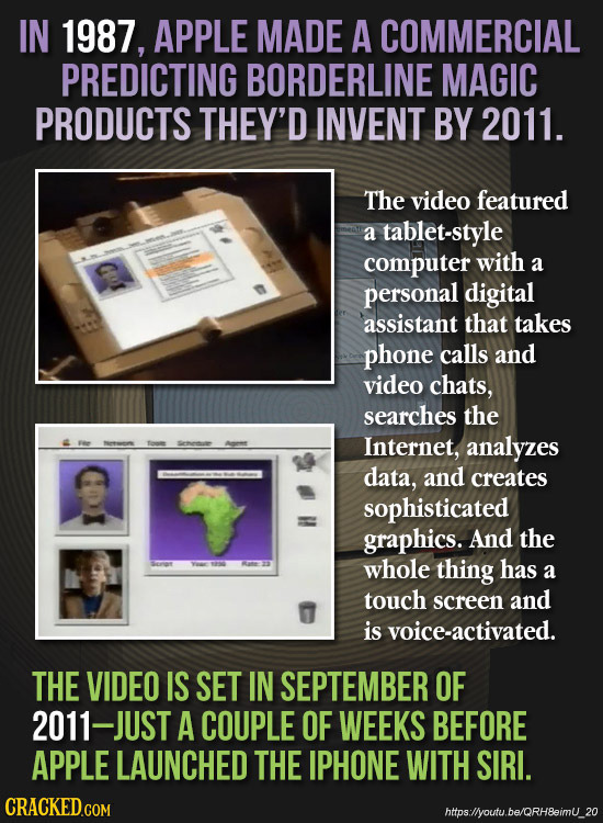 IN 1987, APPLE MADE A COMMERCIAL PREDICTING BORDERLINE MAGIC PRODUCTS THEY'D INVENT BY 2011. The video featured a tablet-style computer with a persona
