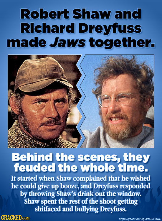 Robert Shaw and Richard Dreyfuss made Jaws together. Behind the scenes, they feuded the whole time. It started when Shaw complained that he wished he