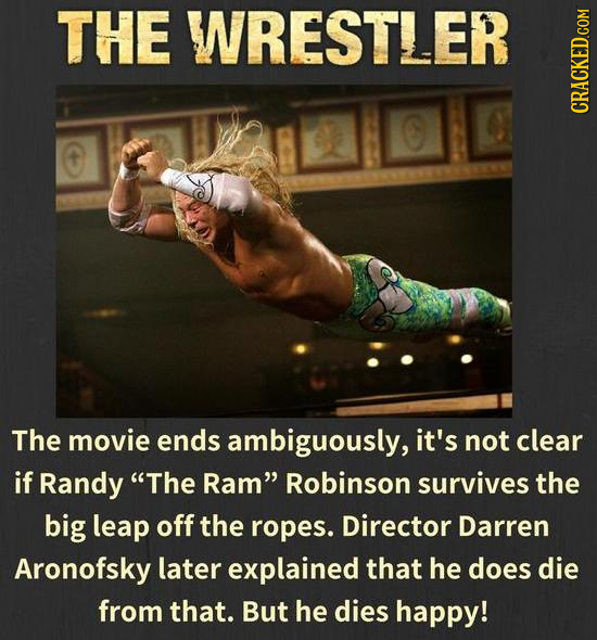 THE WRESTLER CRACKED.GOM The movie ends ambiguously, it's not clear if Randy The Ram Robinson survives the big leap off the ropes. Director Darren A