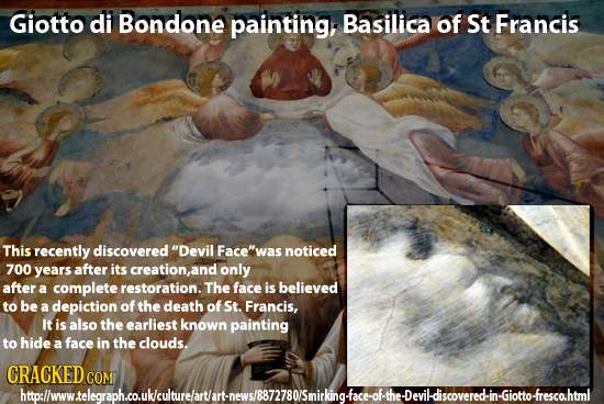 Giotto di Bondone painting, Basilica of St Francis This recently discovered Devil Face'was noticed 700 years after its creation,an only after a comp
