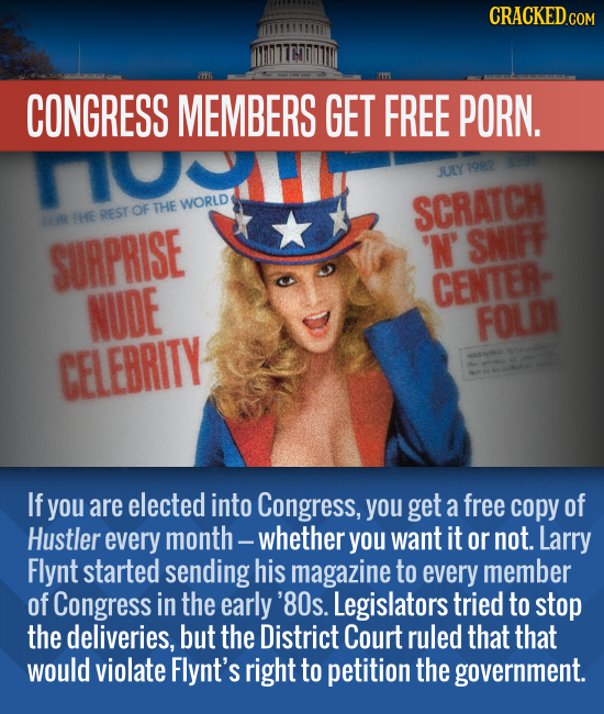 CRACKED CONGRESS MEMBERS GET FREE PORN. JULY 1082 REST OF THE WORLD SCRATCH R THE SURPRISE 'N' SNIFF CENTER- NUDE FOLD CELEBRITY If you are elected in