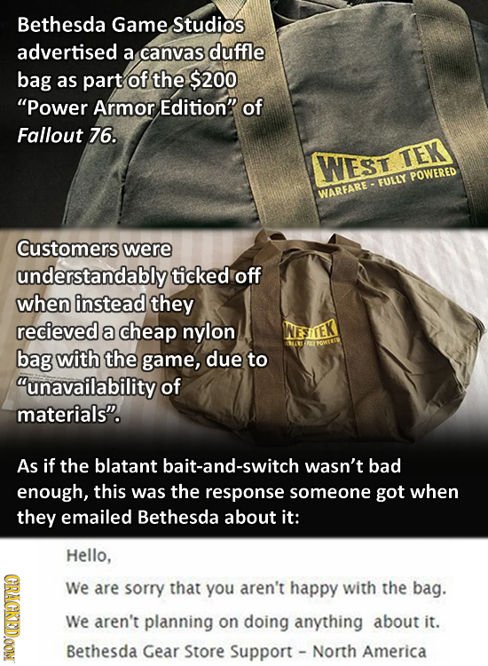 Bethesda Game. Studios advertised a canvas duffle bag as part of the $200 Power Armor Edition of Fallout 76. WEST TEK POWERED EULLY WARFARE Customer