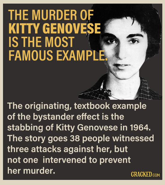 THE MURDER OF KITTY GENOVESE IS THE MOST FAMOUS EXAMPLE. The originating, textbook example of the bystander effect is the stabbing of Kitty Genovese i