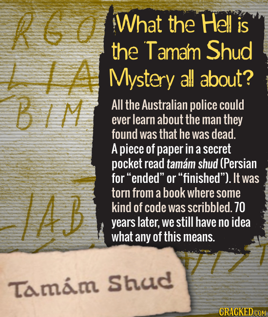 What the Hell is the Tamam Shud L LA Mystery all about? All the Australian police could ever learn about the man they found was that he was