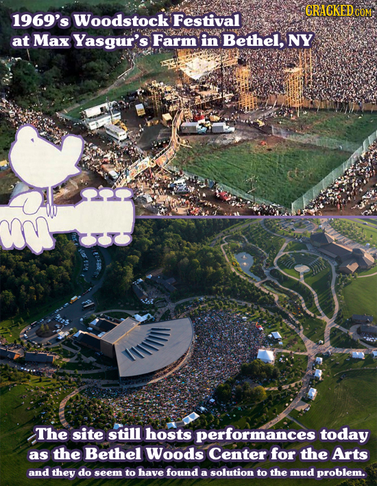 CRACKEDO COM 1969's Woodstock Festival at Max Yasgur's Farm in Bethel, NY O The site still hosts performances today as the Bethel Woods Center for the