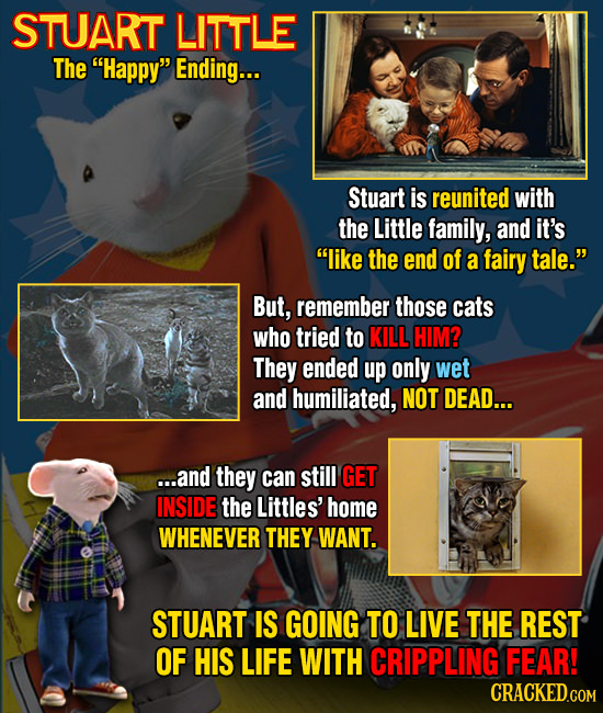 STUART LITTLE The Happy Ending... Stuart is reunited with the Little family, and it's like the end of a fairy tale. But, remember those cats who t