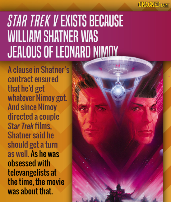 CRACKEDCOMT STAR TREK V EXISTS BECAUSE WILLIAM SHATNER WAS JEALOUS OF LEONARD NIMOY A clause in Shatner's contract ensured that he'd get whatever Nimo