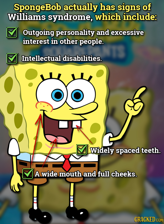 SpongeBob actually has signs of Williams syndrome, which include: Outgoing personality and excessive interest in other people. Intellectual disabiliti