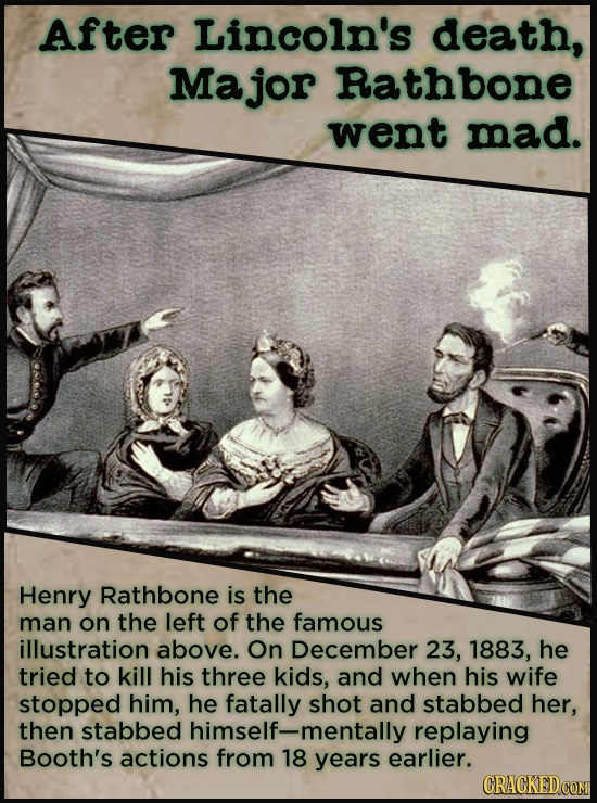 After Lincoln's death, Ma jor Rathbone went mad. Henry Rathbone is the man on the left of the famous illustration above. On December 23, 1883, he trie