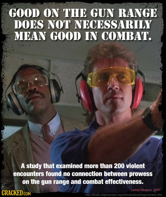 GOOD ON THE GUN RANGE DOES NOT NECESSARILY MEAN GOOD IN COMBAT. A study that examined more than 200 violent encounters found no connection between pro