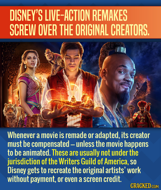 DISNEY'S LIVE-ACTION REMAKES SCREW OVER THE ORIGINAL CREATORS. Whenever a movie is remade or adapted, its creator must be compensated-| unless the mov