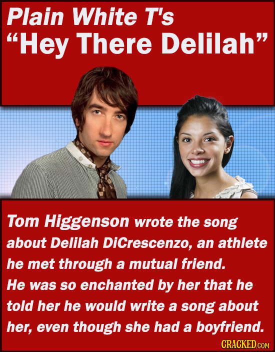 Plain White T's Hey There Delilah Tom Higgenson wrote the soNG about Delilah DiCrescenzo, an athlete he met through a mutual friend. He was sO encha