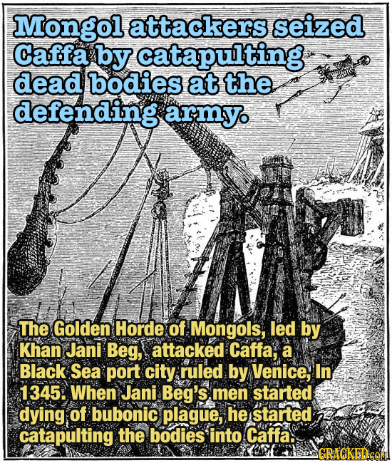 Mongol attackers seized Caffa by catapulting dead bodies at the defending army The Golden Horde of Mongols, led by Khan Jani Beg, attacked Caffa, a Bl