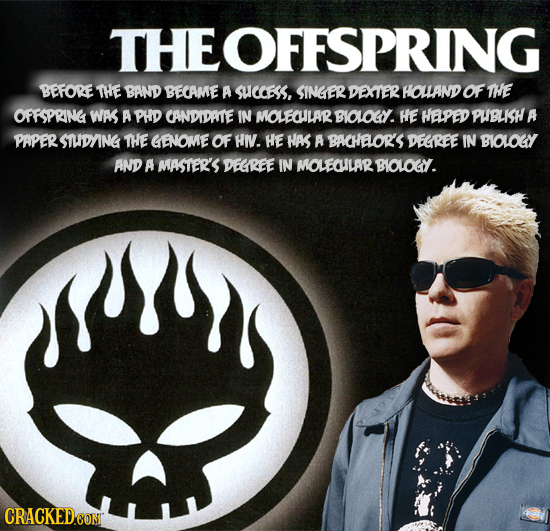 THEOFFSPRING BEFORE THE BAND BECAME A SUCCES, SINGER DEXTER HOLLAND OF THE OFFSPRING WAS A PHD CANDIDATE IN MOLEOILARY BIOLOY. HE HAPED PUBLISH A PAPE