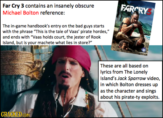 Far Cry 3 contains an insanely obscure FRCRY3 Michael Bolton reference: The in-game handbook's entry on the bad guys starts with the phrase This is t