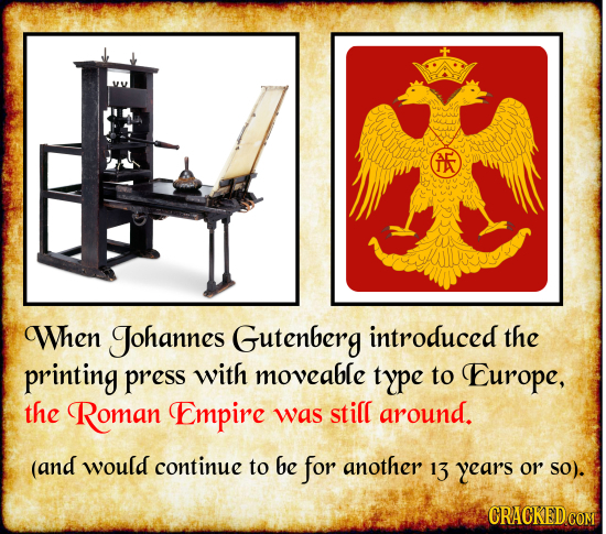 AE When Johannes Gutenberg introduced the printing press with moveable type to Europe, the Roman Empire was still around. (and would continue to be fo