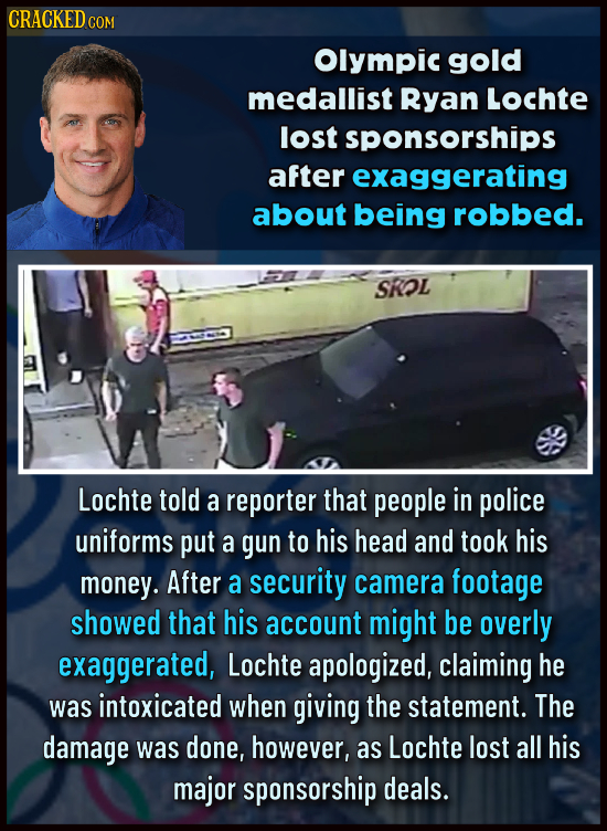 CRACKED COM Olympic gold medallist Ryan Lochte lost sponsorships after exaggerating about being robbed. SROL Lochte told a reporter that people in pol