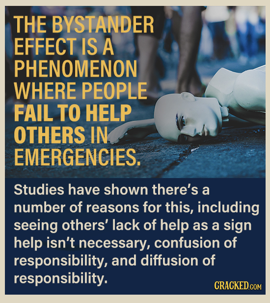 THE BYSTANDER EFFECT IS A PHENOMENON WHERE PEOPLE FAIL TO HELP OTHERS IN EMERGENCIES. Studies have shown there's a number of reasons for this, includi