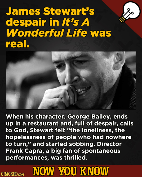 A Fresh Boatload Of Movie And General Trivia - James Stewart's despair in It's A Wonderful Life was real. When his