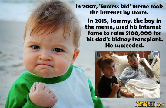 In 2007, 'Success kid' meme took the Internet by storm. In 2015, Sammy, the boy in the meme, used his Internet fame to raise $100,00 for his dad's kid
