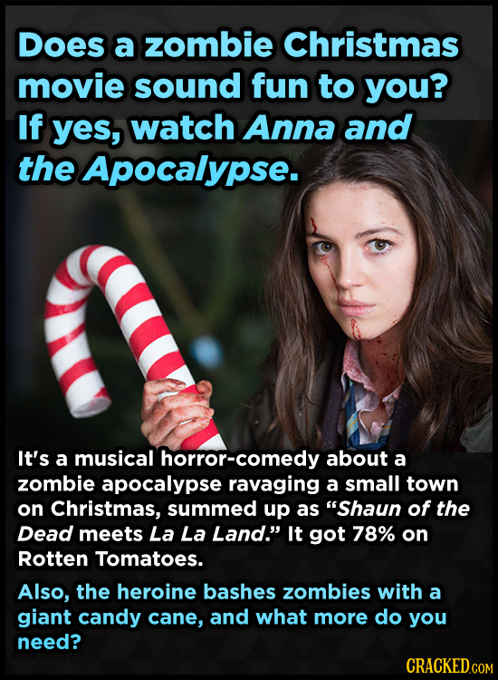 DOes a zombie Christmas movie sound fun to you? If yes, watch Anna and the Apocalypse. It's a musical horror-comedy about a zombie apocalypse ravaging