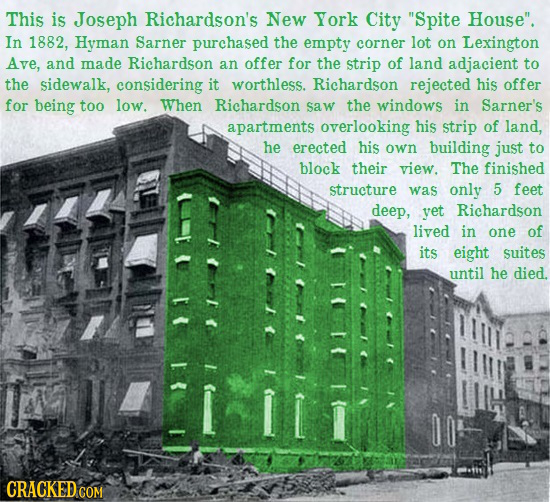 This is Joseph Richardson's New York City Spite House. In 1882, Hyman Sarner purchased the empty corner lot on Lexington Ave, and made Richardson an