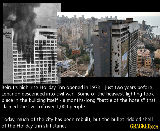 -B4an >r. Beirut's high-rise Holiday Inn opened in 1973 - just two years before Lebanon descended into civil war. Some of the heaviest fighting took p