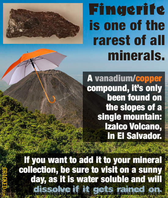 Fingerite is one of the rarest of all minerals. A vanadium/ copper compound, it's only been found on the slopes of a single mountain: lzalco Volcano,
